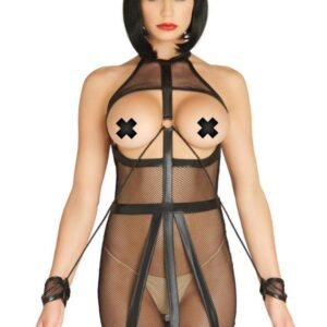 KI4025x1 300x300 - Leg Avenue KINK Wet Look Fishnet Open Bondage Dress