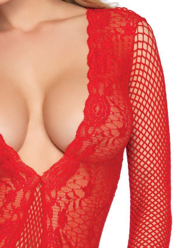 89220x5 600x850 - Leg Avenue High Cut Deep V Lace And Net Thong Back Teddy
