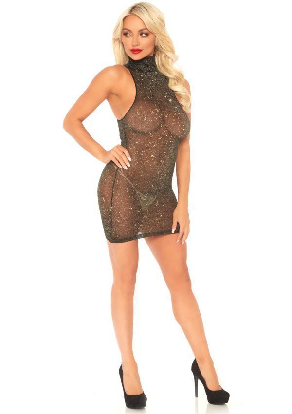 86101x 1 600x850 - Leg Avenue Lurex Spandex Mini Dress Gold UK 8 to 14