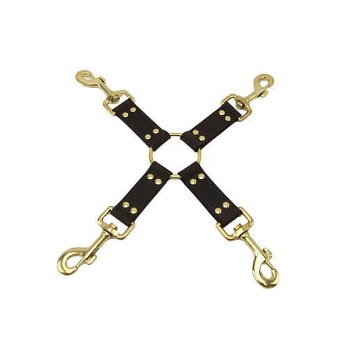 n10100 bound 4 way hog tie 1 3 2 - BOUND Nubuck Leather 4 Way Hog Tie