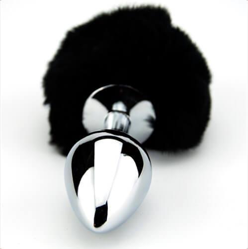 n10422 furry fantasy black bunny tail 3 1 2 - Furry Fantasy Black Bunny Tail Butt Plug