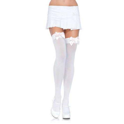 n9243 nylon thigh highs with bow 1 5 - Leg Avenue Nylon Thigh Highs with Bow