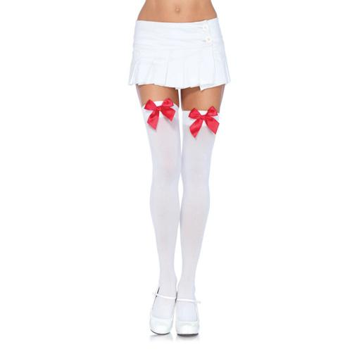 n9243 nylon thigh highs with bow 2 5 - Leg Avenue Nylon Thigh Highs with Bow