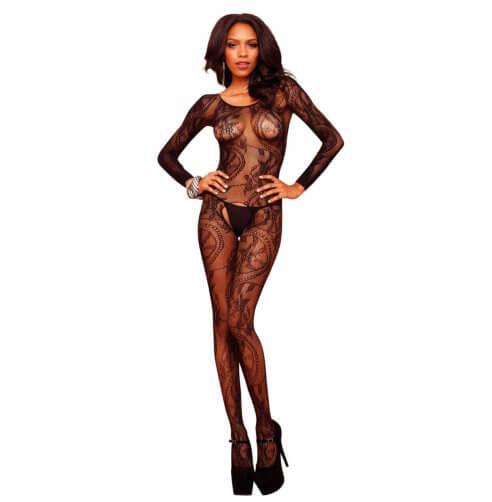 n9273 leg avenue swirl lace bodystocking 1 1 2 - Leg Avenue Swirl Lace Bodystocking