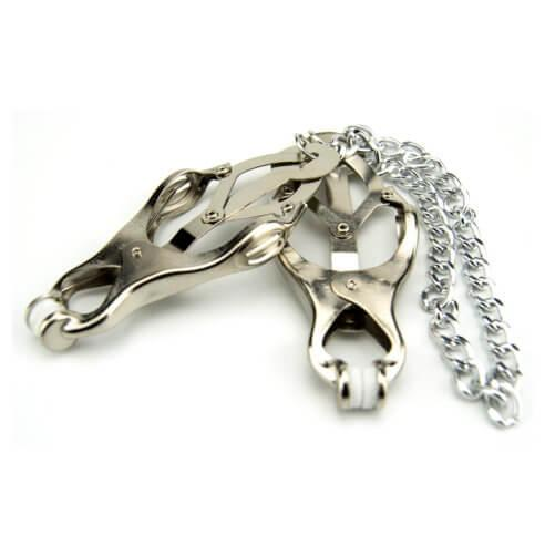 n9379 bound to please squeezer teaser nipple clamp 2 2 - Bound to Please Squeezer Teaser Clover Nipple Clamps with Chain