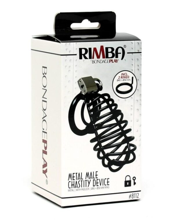 Black Metal Male Chastity Device With Padlock
