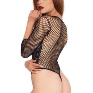 Leg Avenue High Cut Deep V Lace Thong Teddy Black