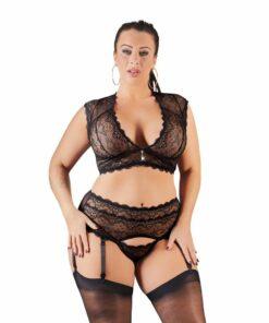 Cottelli Plus Size Bralette & String Set Black
