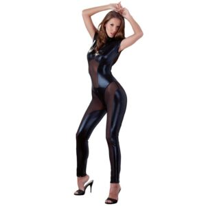 Cottelli Collection Wet Look And Mesh Jumpsuit