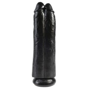 King Cock 11 Inch Black Two Cocks One Hole Hollow Strap-On